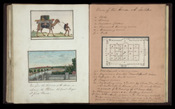 A camel laden with trunks & possessions (top left), View from Metcalfe House towards Delhi (bottom left), Plan of the Metcalfe House (right)